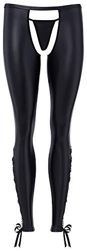 Orion Ouvert-Leggings - offene Hose im Wetlook für sie, seitliche Zierschnürung, inkl. passendem String, schwarz (S)