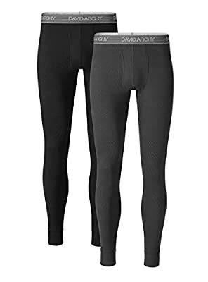 DAVID ARCHY Men's 2 Pack Soft Cotton Thermal Pants Rib Stretchy Base Layer Thermal Underwear Bottoms Long Johns Leggings (M, Black/Dark Gray)