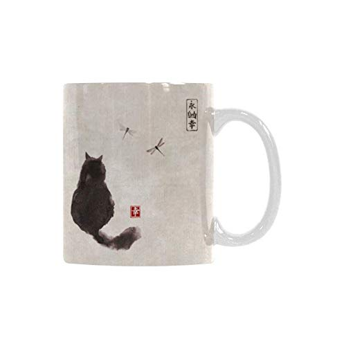 InterestPrint Vintage Fluffy Cat and Dragonfly Traditional Japanese Ink Painting White Ceramic Coffee Mugs Office Tea Cups for Women Men Kids Mom Dad Friends 11 Ounce