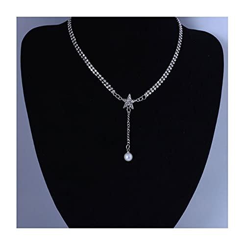 Estilo único Estilo Tassel Gargantilla Collar Simple Perla Collar Cadena Estrella Colgante Collares joyería de Cristal para Mujeres y niñas (Oro) (Color : Silver)