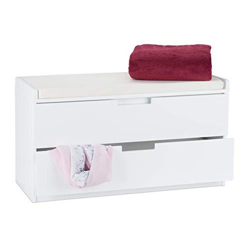 Relaxdays Sitzkommode mit 2 Schubladen, gepolsterte Sitzfläche, Flurbank mit Stauraum, HxBxT: 48,5 x 87 x 38 cm, weiß