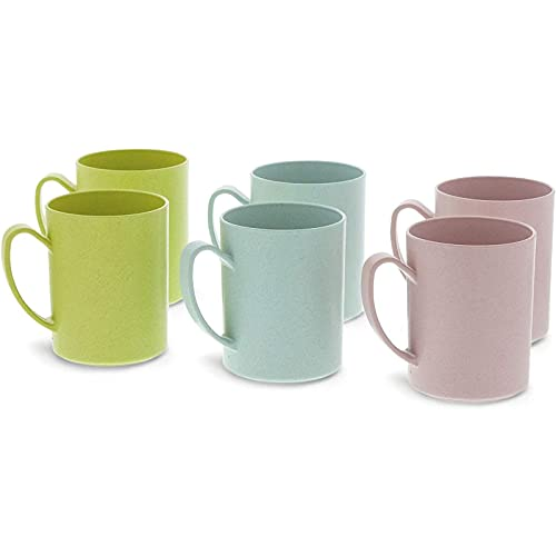 Wheat Straw Mugs, Coffee Cup Set, 3 Colors (13.8 oz, 6 Pack)