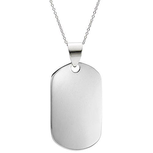 Silverly Collar Hombres Mujeres en Plata de Ley .925 Medalla Colgante Identificación Militar, 46 cm
