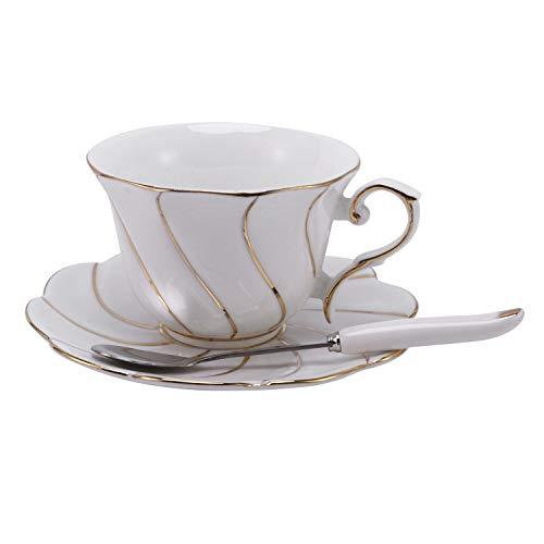 WOVELOT 200 Ml Taza de Café Europeo Plato Hueso China Taza de Café Plato Conjunto Creativo Taza de CeráMica Bebida de Café
