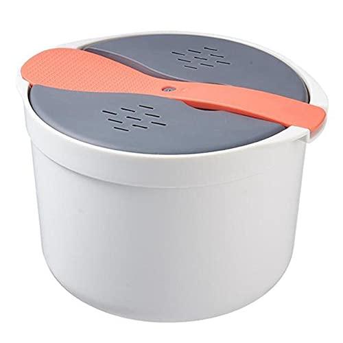 Varadyle Horno Microondas PortáTil Olla Arrocera de 2L Vaporizador Multifuncional Sopa Caliente Cocinar Bento Caja de Almuerzo PP Utensilios de B