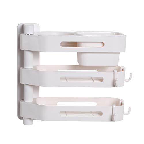 LCHY TB Shelving Units Badkamer Ponsvrije Plank Creatieve Wandmontage Roteerbare 3-laags Haardroger Opslagrek Wit Opslagrek