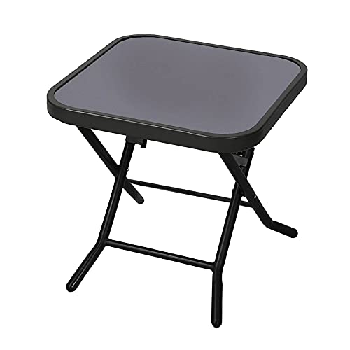 Crystals® Folding Side Table, Glass Top Table, Small Side Stool Drink Coffee Garden Home Furniture
