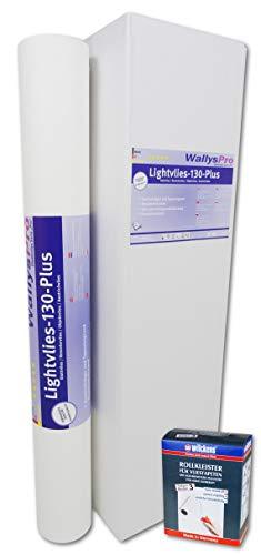 1x Glattvlies Renoviervlies Lightvlies 130 Plus (18,75m²) inkl. 1x Wilckens Rollkleister