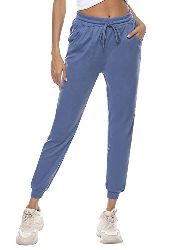 Aibrou Damen Sporthosen Waffel Strickhose Jogginghose mit Taschen mit Bündchen Traininghose Blau M