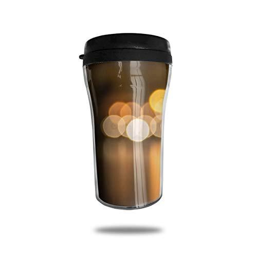 OUYouDeFangA Blocs Circles Light Blur Taza de café de viaje con impresión 3D portátil al vacío, taza de té aislada para beber con tapa, 250 ml