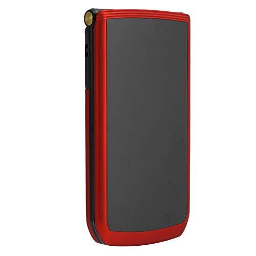 Flip - Teléfono móvil para personas mayores con pantalla de 2,4 pulgadas, 32 MB + 32 MB, modo de espera prolongado, botón grande, fuente grande, volumen alto, teléfono para personas mayores (rojo)(EU)