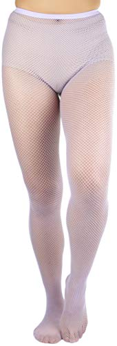 ToBeInStyle Women's Sexy Seamless Fishnet Full Footed Panty Hose Tights Hosiery - Lavender - One Size Regular