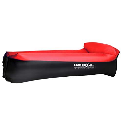 LimitlessXme Divano gonfiabile da spiaggia impermeabile Air Lounger per esterni campeggio e spiaggia nuovo (rosso)