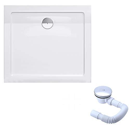 doporro Plato de ducha plano diseño Faro2W 70x80x4 de acrílico en blanco rectangular incl. válvula de desagüe adecuada para instalación a nivel del suelo y conexiones-DIN
