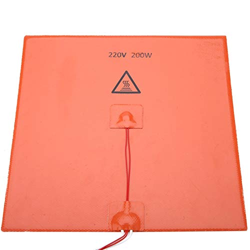 gostcai 3D Printer Silicone Heated Pad,Multiple Size Heating Bed with Wear Resistant and Has a Long Life,Low power and High temperature Universal Silicone Heater Mat(orange200*300mm)