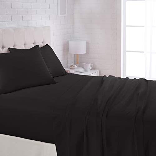 AmazonBasics Lightweight Super Soft Easy Care Microfiber Sheet Set with 16' Deep Pockets - Queen, Black