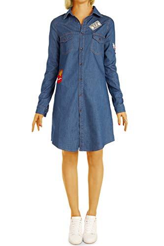 bestyledberlin Damen Blusen Stylisches langes Jeanshemd - Jeanskleid - Lockerer Boyfriend Fit t79z 42/XL Mittelblau