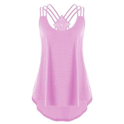 Chaleco de cuello en V de estilo casual para mujer, con tiras, para verano, playa, camiseta sin mangas
