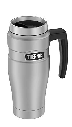 THERMOS MÉXICO Termo para café Acero Inoxidable, con asa (470ml, 7 hrs Caliente y 20 hrs Frio, Termo para té y café), Color Acero