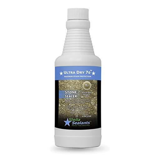 Ultra Dry 70 - Natural Stone Marble Sealer - Grout Sealer - Countertop Sealer - Bathroom Tile Sealer (Quart)