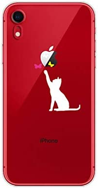 FancyCase Compatible with iPhone XR-New Fun Cat Pattern Soft TPU Protective Clear iPhone XR Case by Fancy Case (Cat Chasing Butterlies)
