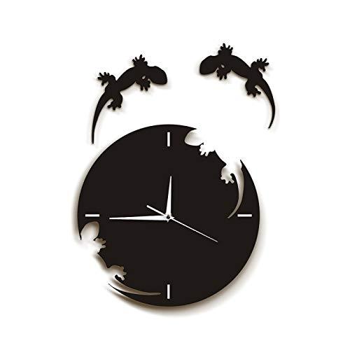 Reloj de pared Arte abstracto de la pared Geckos Escape From The Clock Reloj de pared Gecko Salamander Gecko Lizard Silhouette Reptile diseñado Reloj de pared para la escuela de la oficina en casa