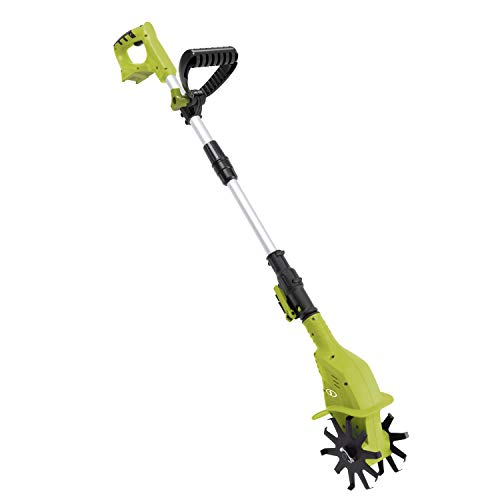 """Sun Joe 24V-TLR-CT Cutting Swath Garden Tiller/Cultivator, Size: Blades 4. 25"""" Wide by 6"""" deep Path Telescopic Pole extends from 28. 3"""" to 37. 3"""", Tool Only"""