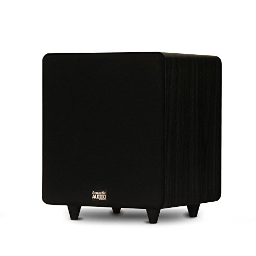 "Acoustic Audio PSW400-10 Home Theater Powered 10"" LFE Subwoofer Black Front Firing Sub"