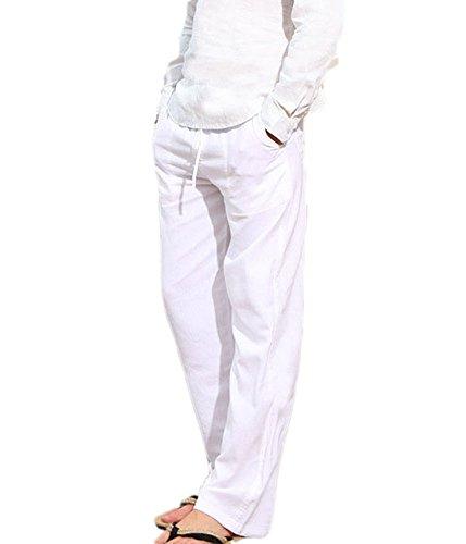 Pantalones de Playa Suelta para Hombres Pantalones de Verano de algodón Suave y Transpirables - cordón Pantalones Largos de Color sólido para Hombres Pantalones Casuales 6 Colores M-3XL