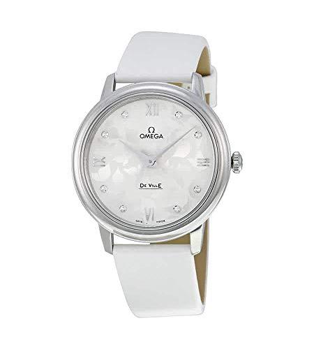 Omega de Ville Blanco Diamante Dial Blanco Satén Damas Reloj 42412336052001