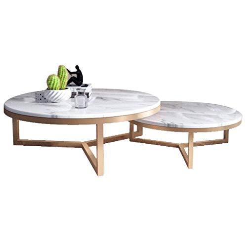 N/Z Tägliche Ausrüstung Home D & Eacute; COR Furniture Couchtisch aus nordischem Marmor 2er-Set Akzenttisch Stapelung Nesting Beistelltisch für Wohnzimmer Büro (Golden + Weiß) Wohnzimmer oder Lounge
