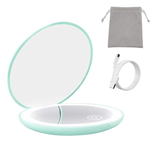 Milishow Compact Mirror with LED light,1x/10x Magnifying Rechargeable Mirror,Dimmable Travel Mirror for Purse,Handbag,Pocket,Handheld 2-Sided Makeup Mirror (Green)