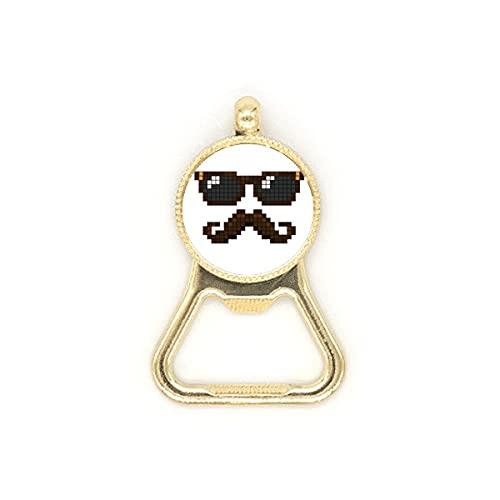 Gafas de sol Beard Man Pixel Beer Bottle Cap Abridor de acero inoxidable Llavero