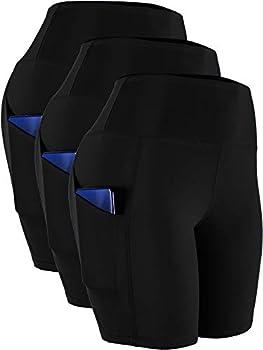 CADMUS Women s High Waist Spandex Yoga Shorts for Bike Running Two Side Pockets,10,Black,Black,Black,Large