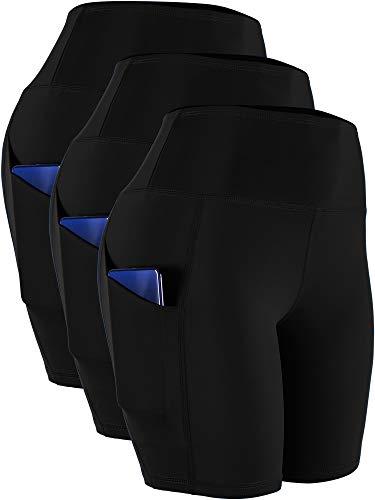 Cadmus Women's High Waist Spandex Yoga Shorts for Bike Running Two Side Pockets,10,Black,Black,Black,XX-Large
