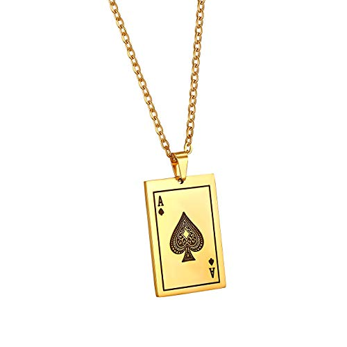 JewelryWe Schmuck Herren Halskette, Edelstahl Pik Ass Poker Karte Anhänger mit 55cm Kette, Karten-Spiel Geschenk für den Freund/Ehe-Mann/Männer, Gold Schwarz