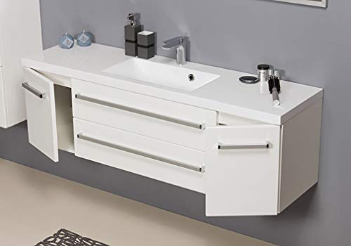 Quentis Badmöbel Genua, Breite 140 cm, Waschbecken und Unterschrank, weiß glänzend, 2 Türen, 2 Schubladen, Softeinzug, Waschbeckenunterschrank montiert