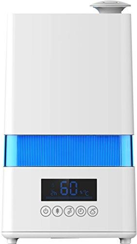 Ardes AR8U20 Umidificatore Igrometro Ionizzatore Nebulo Digital ad Ultrasuoni 30 W, Capacità 4,5 Litri, 4 Livelli di Vapore, Pulito Display LED Timer 12 Ore, Bianco