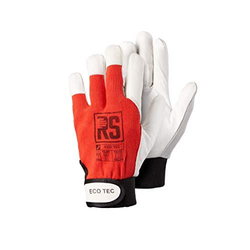 EcoTec Rot 12 Paar - Montagehandschuhe aus Ziegenleder, Leder Handschuhe Arbeitshandschuhe, Lederhandschuhe mit Klettverschluss: ISO, CE PSA CAT II, EN 420, EN 388 - Gr. 8