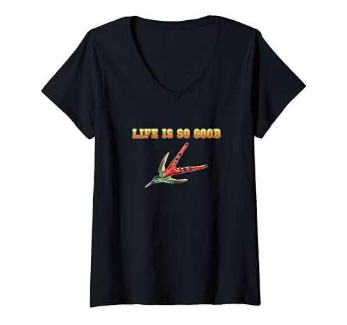 Womens hummingbirds humming-bird life is so good bird watcher item V-Neck T-Shirt