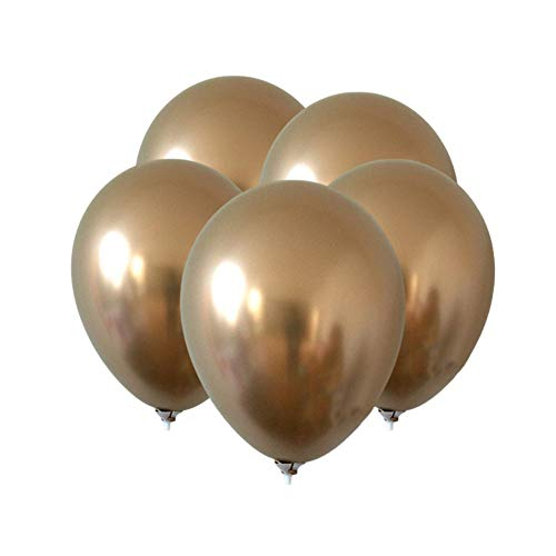 tianxiangjjeu 5 Stks 12 Inch Opblaasbare Latex Ballon Metalen Kleur Verjaardag Party Bruiloft Decoraties Goud