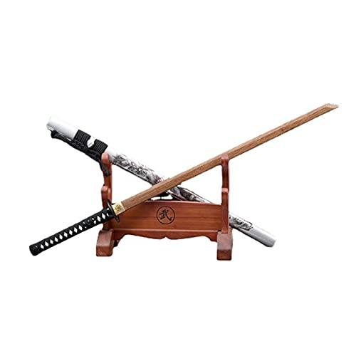 Katana Recta de Palisandro Natural de 103 cm, Vaina Blanca con patrón de dragón Pintado, Espadas samuráis de Madera Hechas a Mano para Kendo Cosplay Display Collect