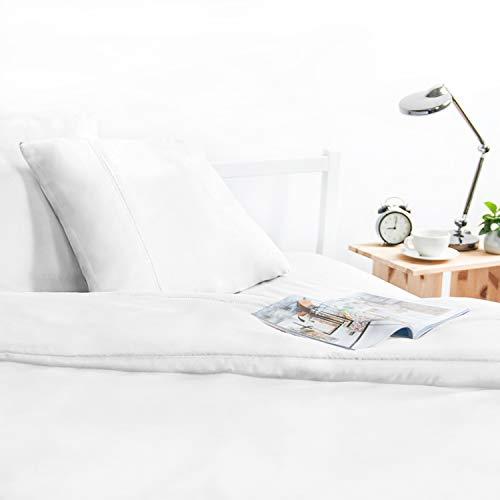 ViscoSoft - Housse de Couette 140x200 en Microfibre touché Ultra Doux   Linge de lit avec Decoration Jour de Venise   Parure de lit 140x200 Adulte + 1 taie d'oreiller, Blanc