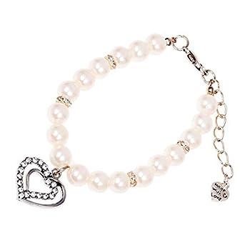 SODIAL(R) Collier de pendentif de diamant perle blanc metal pour les chiens de compagnie avec la taille de S