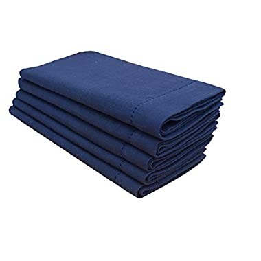 Linen Clubs 6 Pack Slub Cotton Dinner Napkins Navy Color,18x18 Inch with Mitered Corner Finish & Hemstitched Detailing Offered