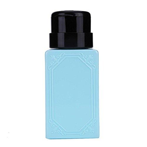 Vovotrade ❃❃Liquid Alcool Presse Vernis à ongles Remover Distributeur Pompage Cleaner Bouteille (Bleu)