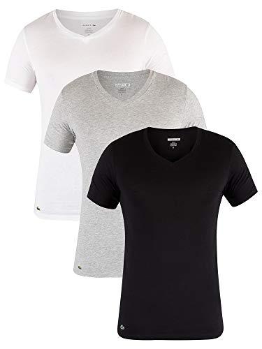 LACOSTE 3er Pack Herren T-Shirt, V-Neck, Slim Fit, Unifarben - Schwarz/Grau/Weiß: Größe: S (Gr. Small)