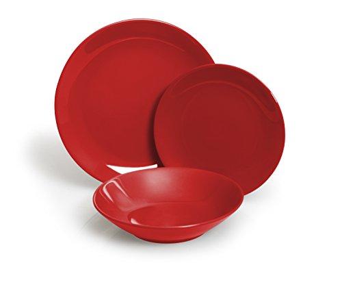 Excelsa Trendy Servizio Piatti 18 Pezzi, Ceramica, Rosso
