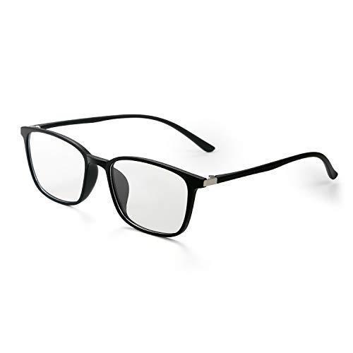 Aroncent Sichtbrille, Rahmen für Herren und Damen, UV-400, Anti-Licht, Blau, robust, elastisch, transparente Gläser, bequem, ultraleicht, Farbe wählbar Schwarz