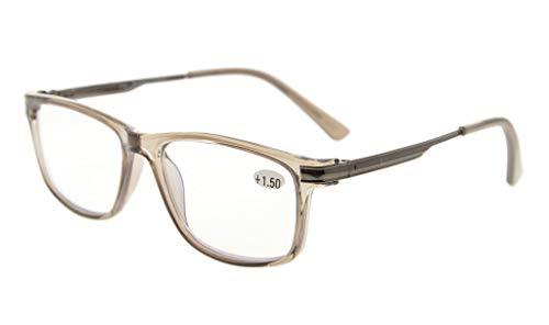Eyekepper TR90 Rahmen Metall Frühling Arme Keine Linie Bifokal Multifocus Brillen 3 Stufe Vision Lesebrillen Blendschutz Computer Leser(Grau Rahmen +1.00)
